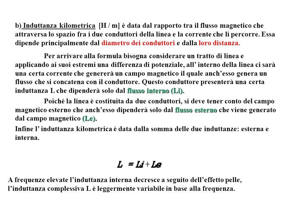 b) Induttanza kilometrica [H / m] è data dal rapporto tra il flusso magnetico che attraversa lo spazio fra i due conduttori della linea e la corrente che li percorre. Essa dipende principalmente dal diametro dei conduttori e dalla loro distanza.